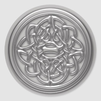Faux Silver Embossed Look Celtic Knot Badge Round Round Sticker