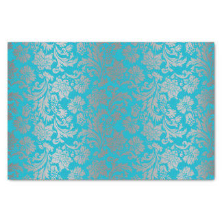 "Faux Silver Floral Damasks Blue Background 10"" X 15"" Tissue Paper"