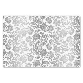Faux Silver Floral Damasks White Background 3 Tissue Paper