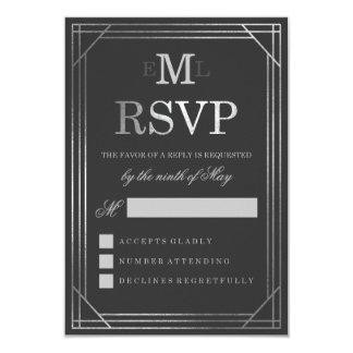 Faux Silver Foil Art Deco | Wedding RSVP 9 Cm X 13 Cm Invitation Card