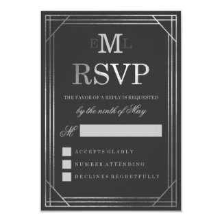 Faux Silver Foil Art Deco | Wedding RSVP Card