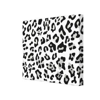 Faux Silver Foil Black Leopard Print Pattern Stretched Canvas Print