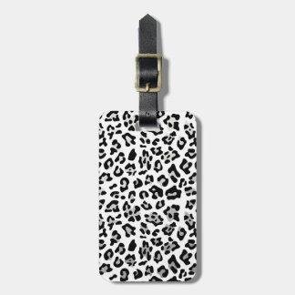 Faux Silver Foil Black Leopard Print Pattern Luggage Tag