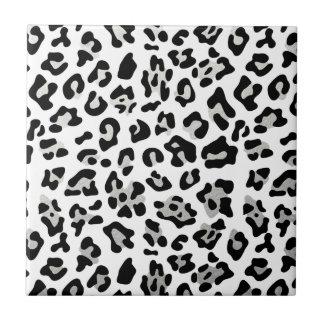 Faux Silver Foil Black Leopard Print Pattern Tile