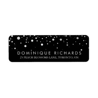 Faux Silver Foil Confetti Black & White II Return Address Label