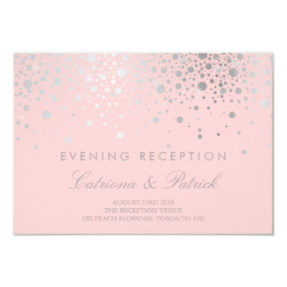 Faux Silver Foil Confetti Blush Reception Card