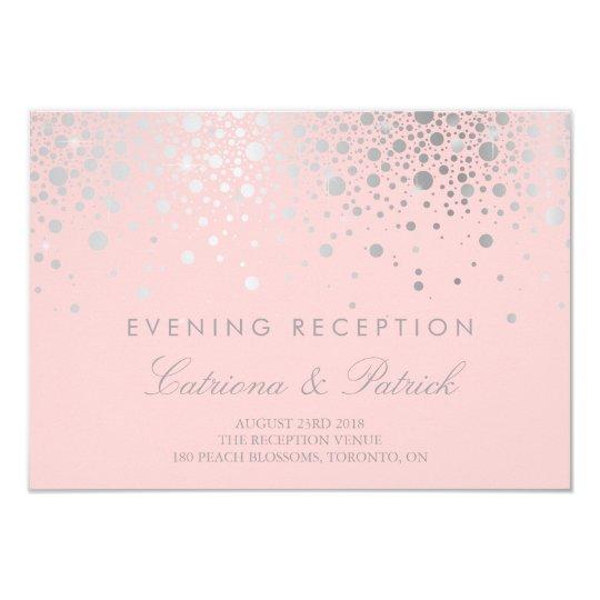Faux Silver Foil Confetti Blush Reception Card