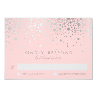 Faux Silver Foil Confetti Blush RSVP Card 9 Cm X 13 Cm Invitation Card
