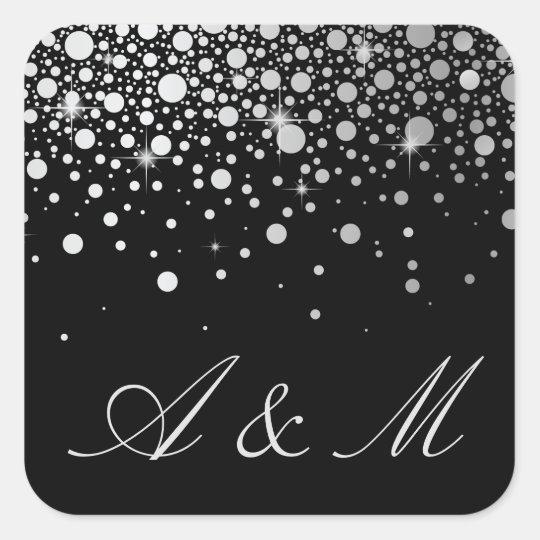 Faux Silver Foil Confetti Dots Black Monogram Square