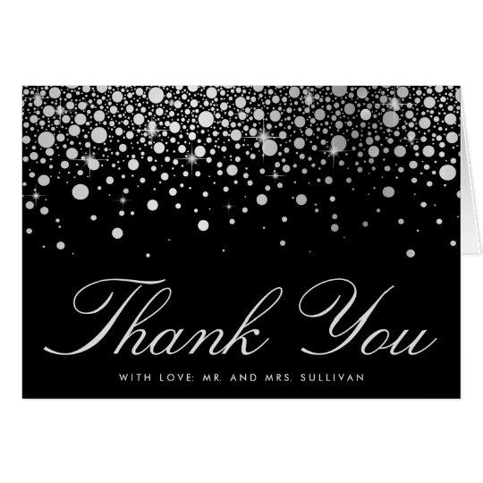 Faux Silver Foil Confetti Dots Black Thank You