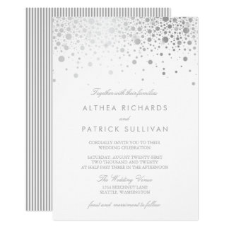 Faux Silver Foil Confetti Dots Wedding Invitation
