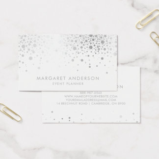 Faux Silver Foil Confetti Modern Business Card