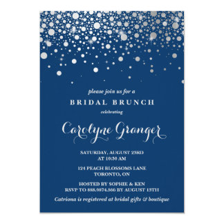 Faux Silver Foil Confetti | Navy Bridal Brunch Card