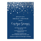 Faux Silver Foil Confetti | Navy Bridal Shower Card