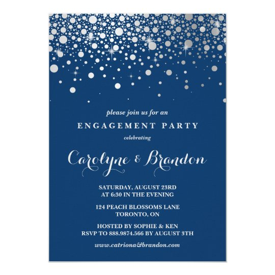 Faux Silver Foil Confetti | Navy Engagement Party