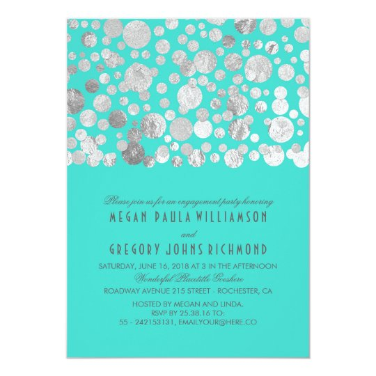 Faux Silver Foil Confetti Teal Engagement Party Card