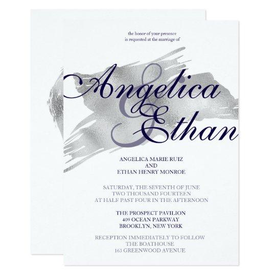 Faux Silver Foil, Modern Wedding Card