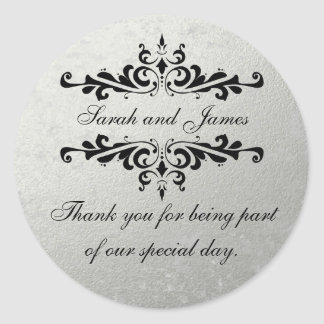 Faux Silver Foil Wedding Favor Thank You Round Sticker