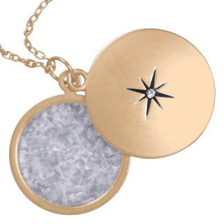 Faux Silver Galvanized Steel Metal Round Locket Necklace