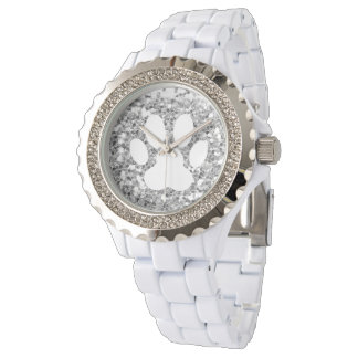 faux silver glitter and white pet paw print watch