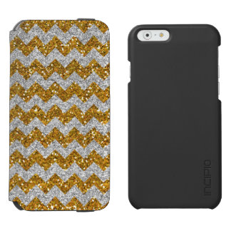 Faux Silver Glitter Chevron Pattern Gold Glitter Incipio Watson™ iPhone 6 Wallet Case