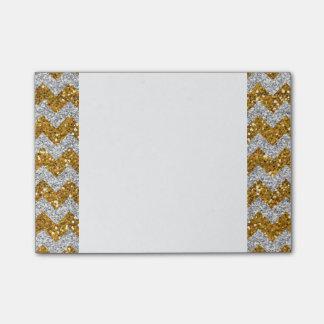 Faux Silver Glitter Chevron Pattern Gold Glitter Post-it Notes