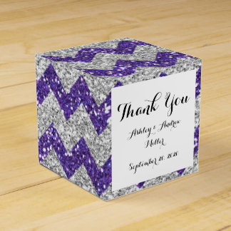 Faux Silver Glitter Chevron Pattern Purple Glitter Favour Box