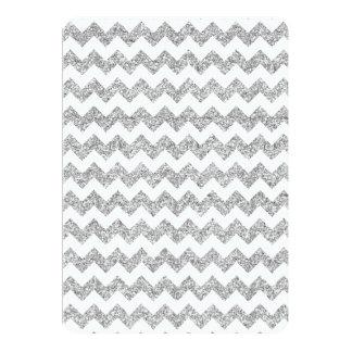 """Faux Silver Glitter Chevron Pattern Purple Glitter 5"""" X 7"""" Invitation Card"""