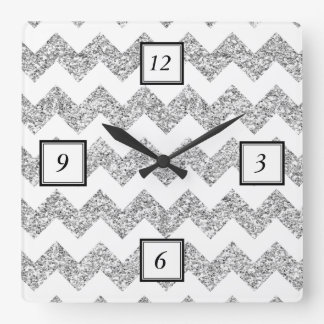 Faux Silver Glitter Chevron Pattern Purple Glitter Square Wall Clock