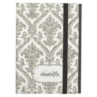 Faux Silver Glitter Damask Elegant Floral Pattern Case For iPad Air