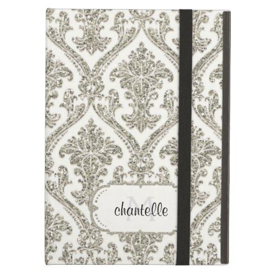 Faux Silver Glitter Damask Elegant Floral Pattern Case