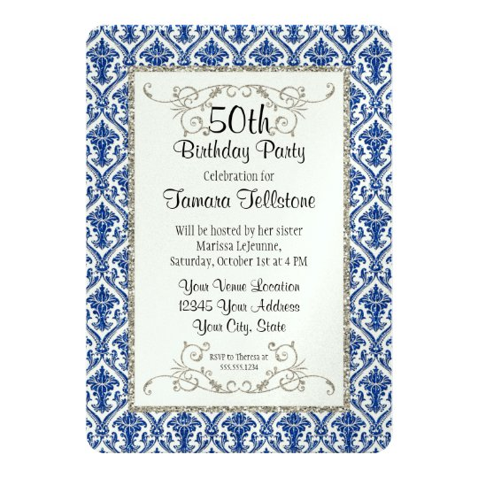 Faux Silver Glitter Damask Floral Pattern Birthday Card