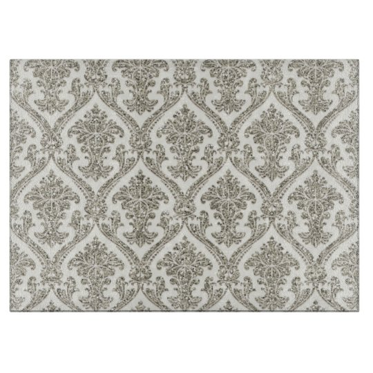 Faux Silver Glitter Damask Floral Pattern Kitchen Cutting