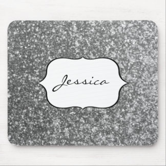 Faux Silver Glitter Glamour Girly Glam Name Mouse Mat