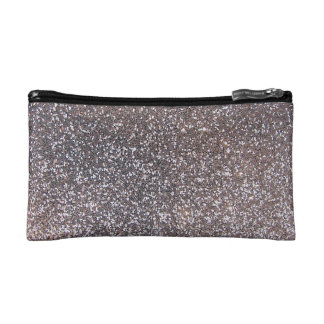 Faux Silver glitter graphic Makeup Bag