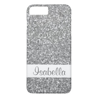 Faux Silver Glitter Look-like Pattern With Name iPhone 8 Plus/7 Plus Case