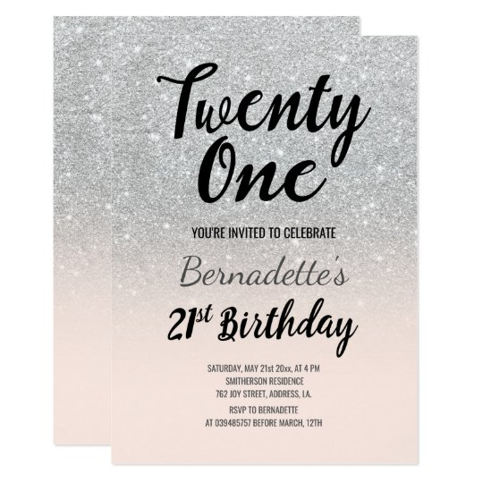 Faux silver glitter ombre 21st Birthday Card