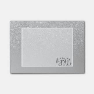 Faux silver glitter ombre grey color block post-it notes