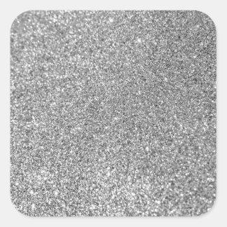Faux Silver Glitter Photo Square Sticker