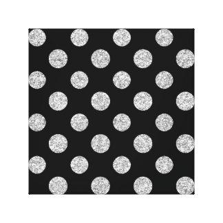 Faux Silver Glitter Polka Dots Pattern on Black Canvas Prints
