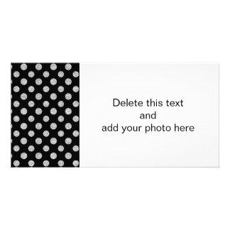 Faux Silver Glitter Polka Dots Pattern on Black Photo Cards