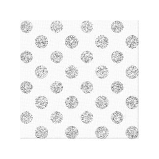Faux Silver Glitter Polka Dots Pattern on White Canvas Print