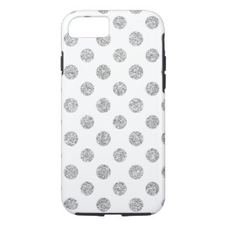 Faux Silver Glitter Polka Dots Pattern on White iPhone 7 Case