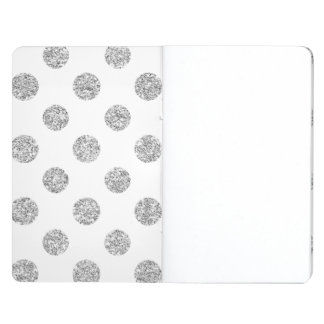 Faux Silver Glitter Polka Dots Pattern on White Journal