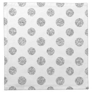 Faux Silver Glitter Polka Dots Pattern on White Napkin