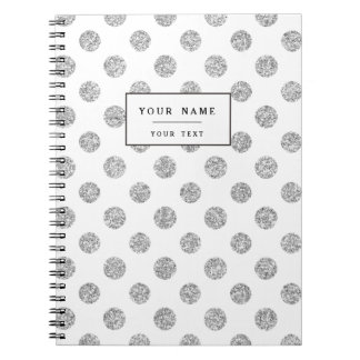 Faux Silver Glitter Polka Dots Pattern on White Spiral Notebook