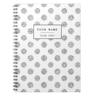 Faux Silver Glitter Polka Dots Pattern on White Spiral Note Books