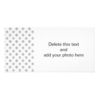 Faux Silver Glitter Polka Dots Pattern on White Personalized Photo Card