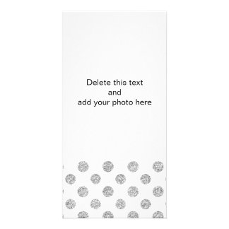 Faux Silver Glitter Polka Dots Pattern on White Photo Greeting Card