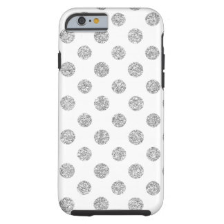 Faux Silver Glitter Polka Dots Pattern on White Tough iPhone 6 Case